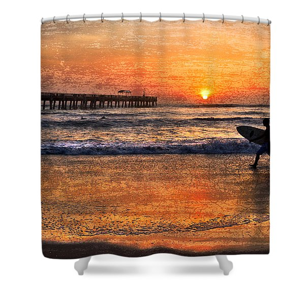 Morning Surf Shower Curtain by Debra and Dave Vanderlaan