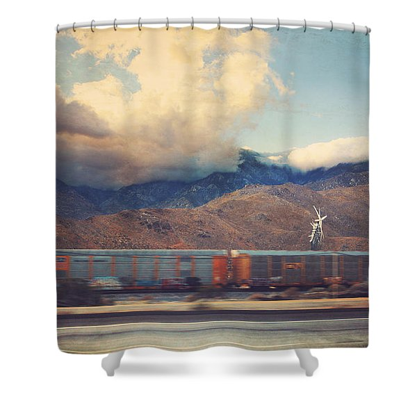 Morning Train Shower Curtain by Laurie Search