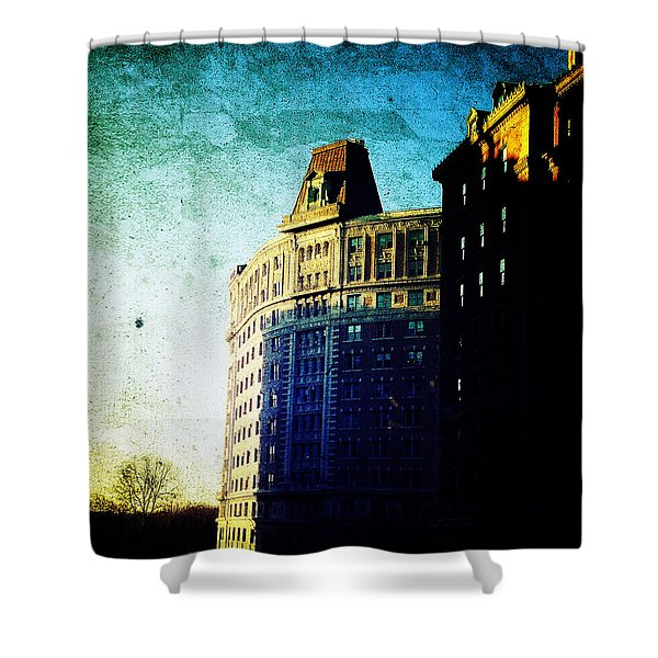 Morningside Heights Blue Shower Curtain by Natasha Marco