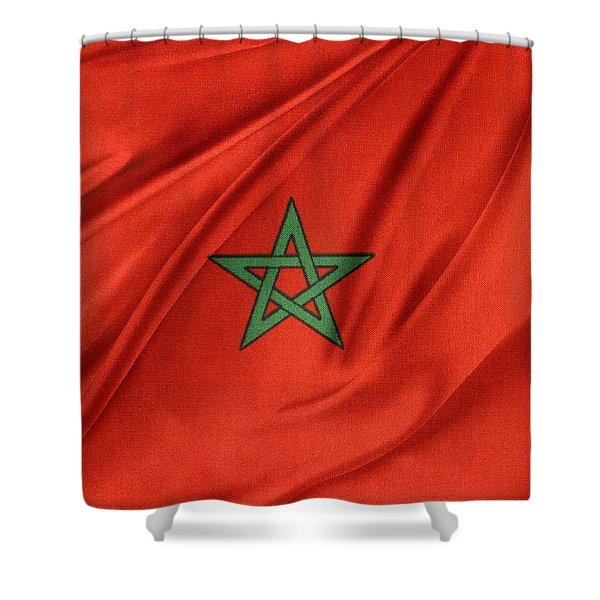 Moroccan Flag Shower Curtain by Les Cunliffe