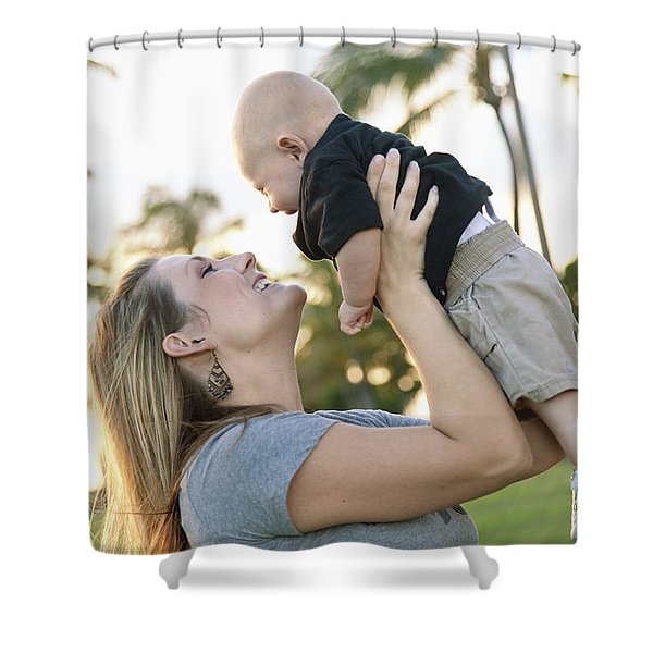 Mother and Baby Shower Curtain by Brandon Tabiolo