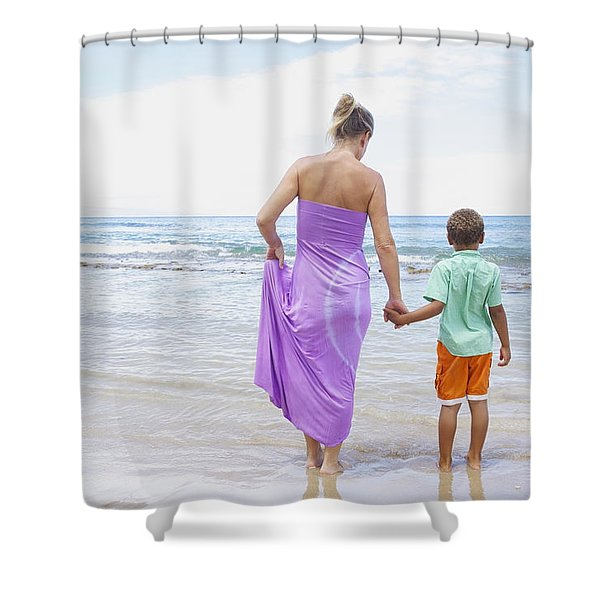 Mother and Son on Beach Shower Curtain by Kicka Witte