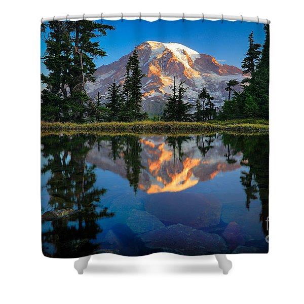 Mount Rainier From Tatoosh Range Shower Curtain by Inge Johnsson