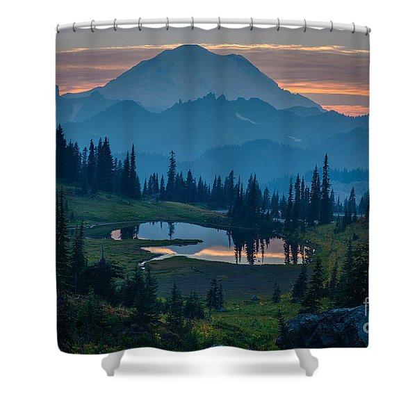 Mount Rainier Layers Shower Curtain by Mike Reid