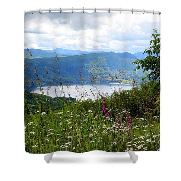Mountain Lake Viewpoint Shower Curtain by Carol Groenen