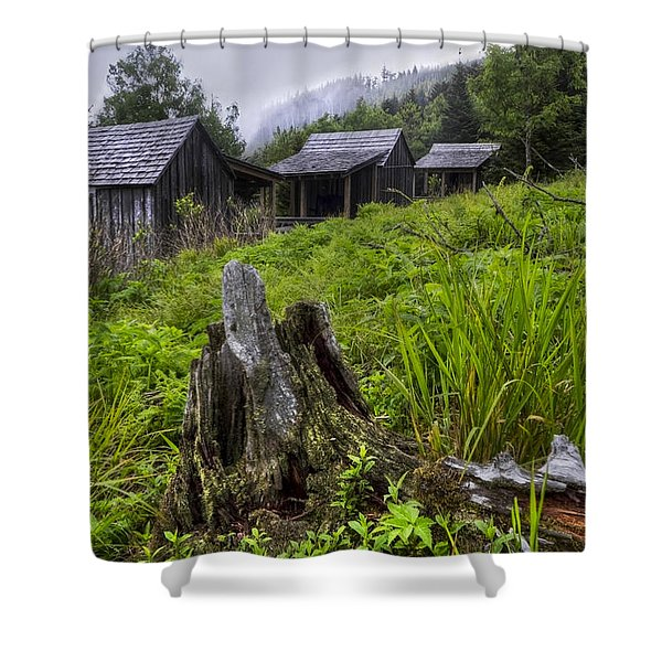 Mountain Mists At Le Conte Shower Curtain by Debra and Dave Vanderlaan