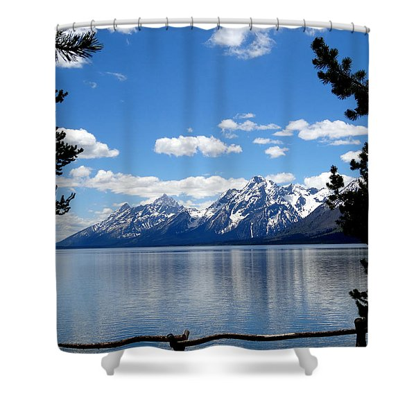 Mountain Reflection On Jenny Lake Shower Curtain by Dan Sproul