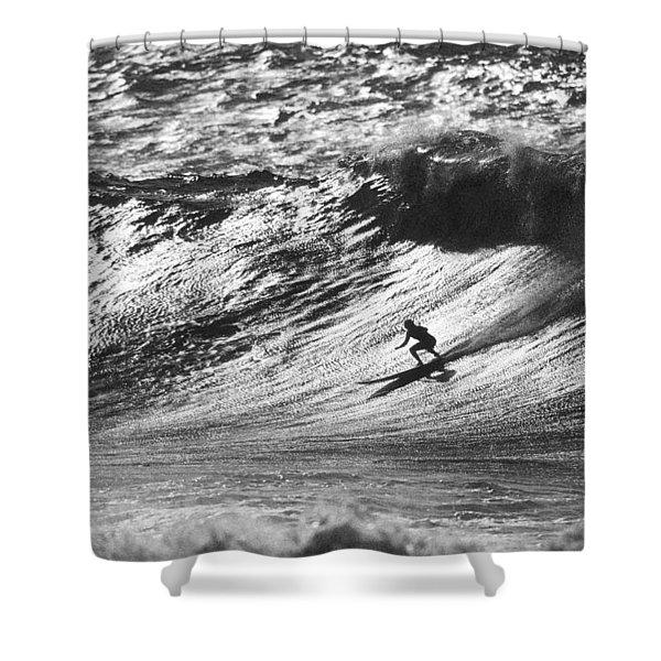 Mountain Surfer Shower Curtain by Sean Davey