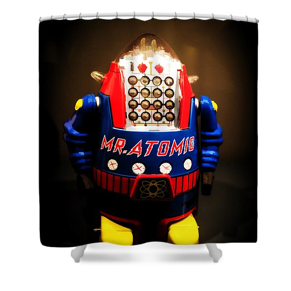 Mr. Atomic Tin Robot Shower Curtain by Edward Fielding