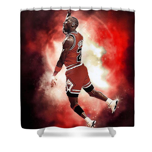 Mr. Michael Jeffrey Jordan Aka Air Jordan Mj Shower Curtain by Nicholas  Grunas