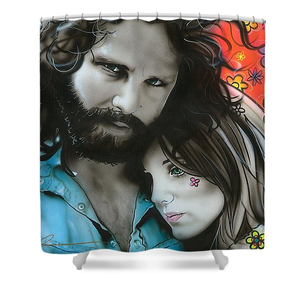 'mr Mojo Risin And Pam' Shower Curtain by Christian Chapman Art