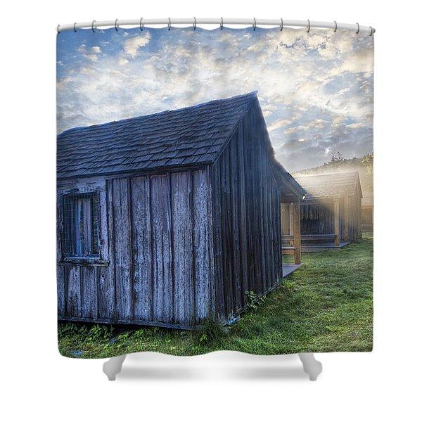Mt LeConte Cabins Shower Curtain by Debra and Dave Vanderlaan