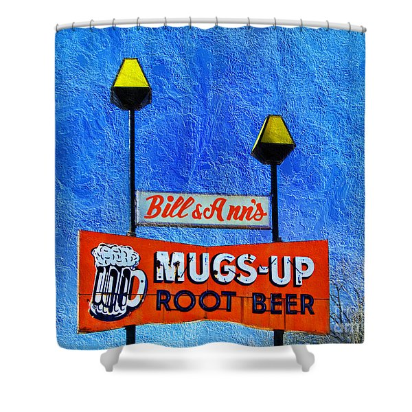 Mugs Up Root Beer Drive In Sign Shower Curtain by Andee Design