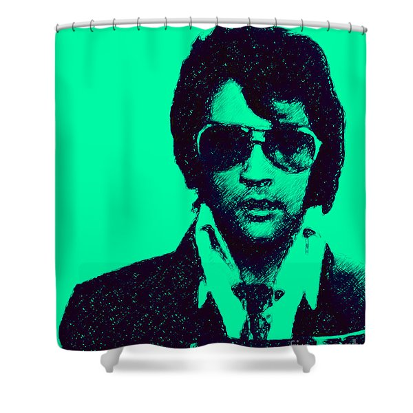 Mugshot Elvis Presley p128 Shower Curtain by Wingsdomain Art and Photography