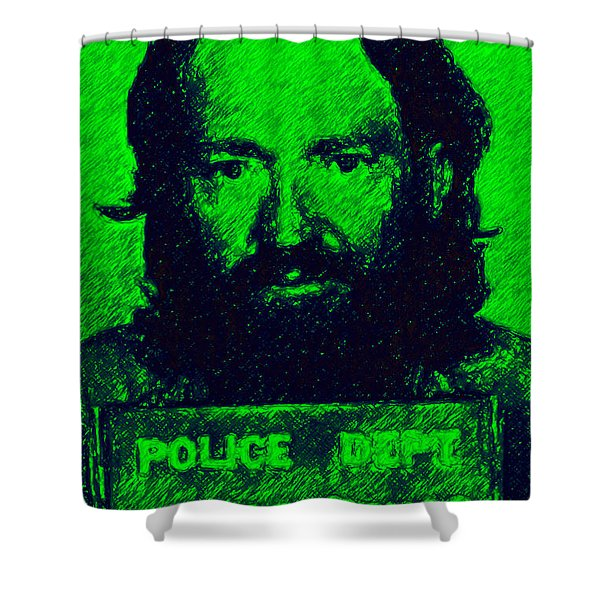 Mugshot Willie Nelson p88 Shower Curtain by Wingsdomain Art and Photography