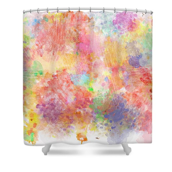 Multi Colored Ditgital Abstract 5 Shower Curtain by Debbie Portwood
