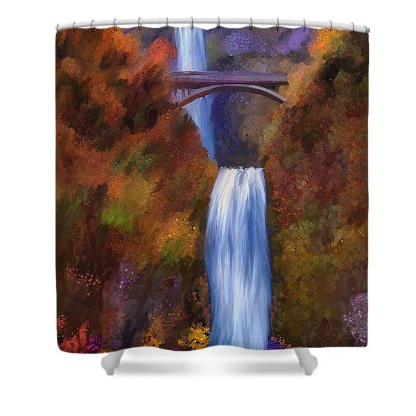 Multnomah Falls In Autumn Shower Curtain by Angela A Stanton