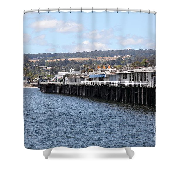 Municipal Wharf At The Santa Cruz Beach Boardwalk California 5D23815 Shower Curtain by Wingsdomain Art and Photography