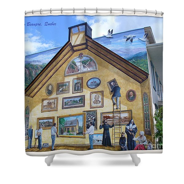 Mural In Beaupre Quebec Shower Curtain by Lingfai Leung