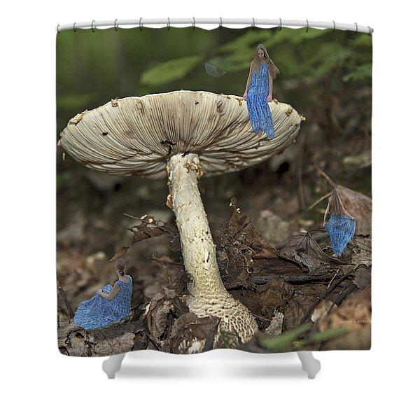 Mushroom Shower Curtain by Betsy C  Knapp