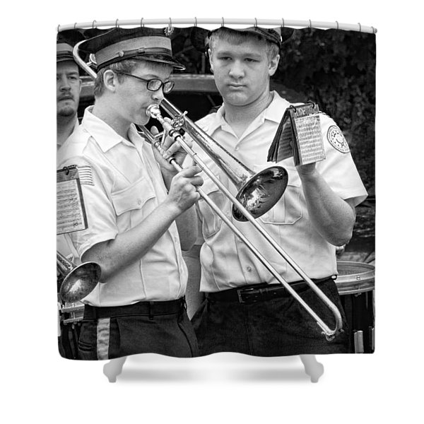Music - Trombone - A helping hand  Shower Curtain by Mike Savad