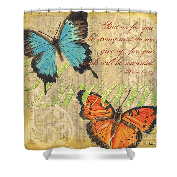 Musical Butterflies 1 Shower Curtain by Debbie DeWitt
