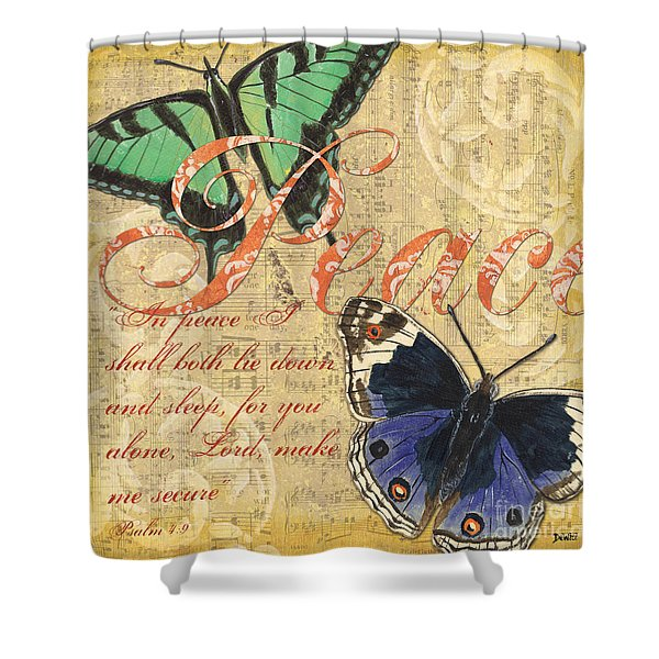 Musical Butterflies 2 Shower Curtain by Debbie DeWitt