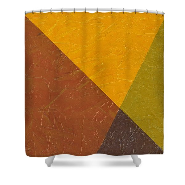 Mustard and Pickle Shower Curtain by Michelle Calkins