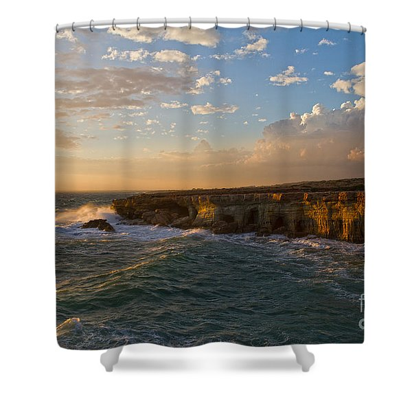 my land is the sea Shower Curtain by Stylianos Kleanthous