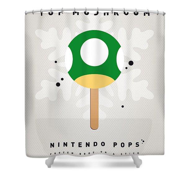 My NINTENDO ICE POP - 1 up Mushroom Shower Curtain by Chungkong Art