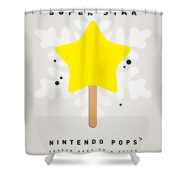 My Nintendo Ice Pop - Super Star Shower Curtain by Chungkong Art