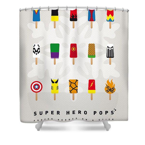 My SUPERHERO ICE POP UNIVERS Shower Curtain by Chungkong Art