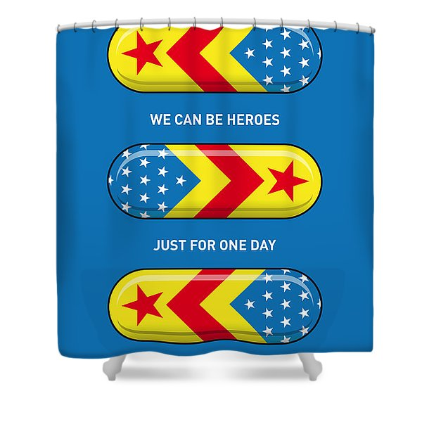 My SUPERHERO PILLS - Wonder woman Shower Curtain by Chungkong Art