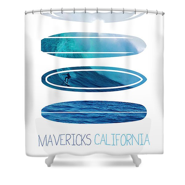 My Surfspots poster-2-Mavericks-California Shower Curtain by Chungkong Art