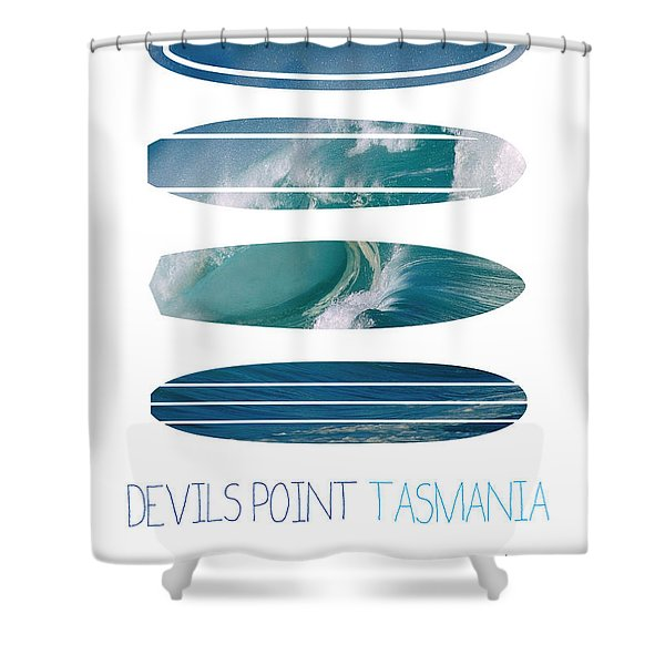 My Surfspots poster-5-Devils-Point-Tasmania Shower Curtain by Chungkong Art