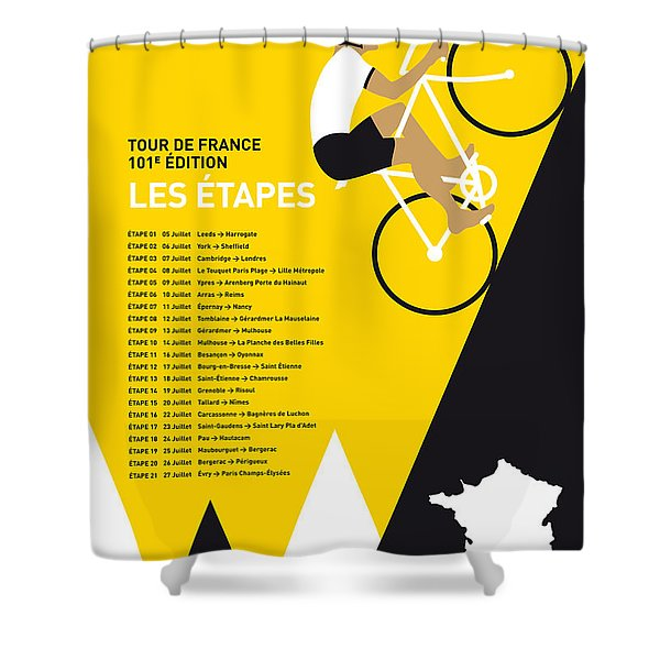 MY TOUR DE FRANCE MINIMAL POSTER 2014-ETAPES Shower Curtain by Chungkong Art