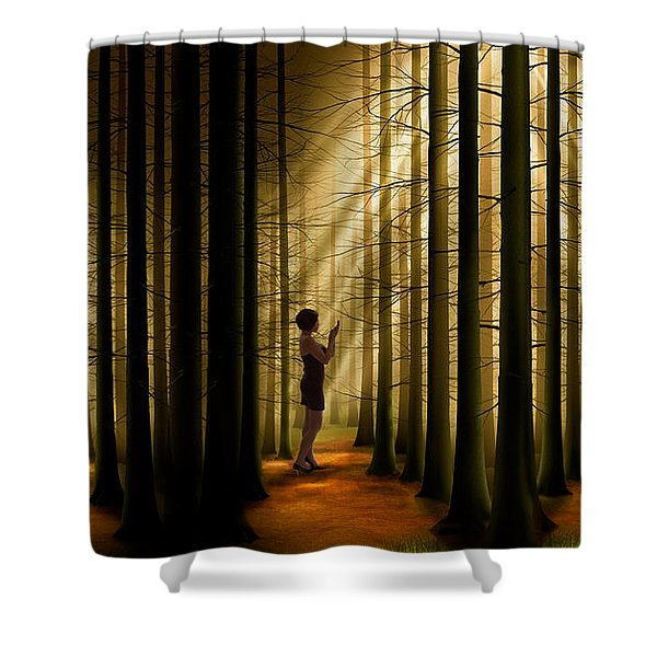 Mysterious Wood Shower Curtain by Bedros Awak