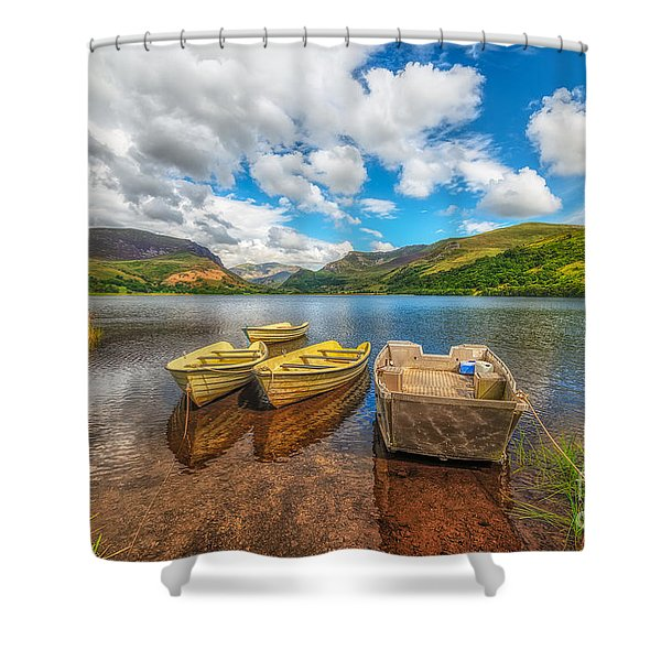 Nantlle Lake Shower Curtain by Adrian Evans