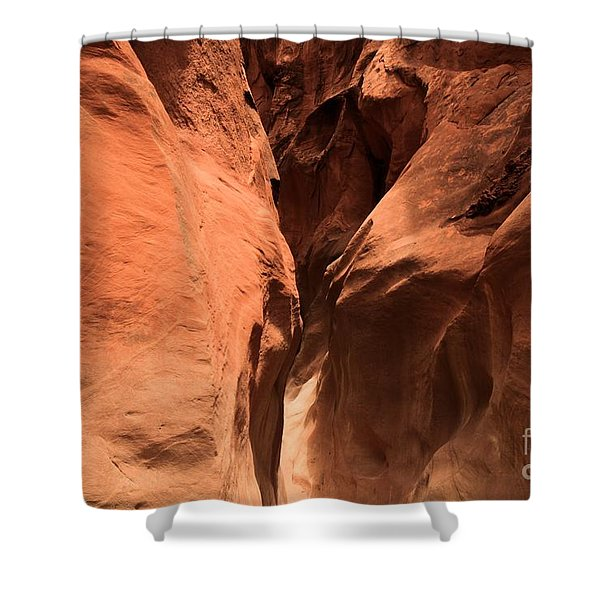 Narrow Red Rock Slots Shower Curtain by Adam Jewell
