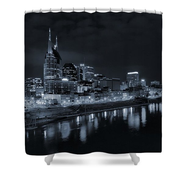 Nashville Skyline At Night Shower Curtain by Dan Sproul