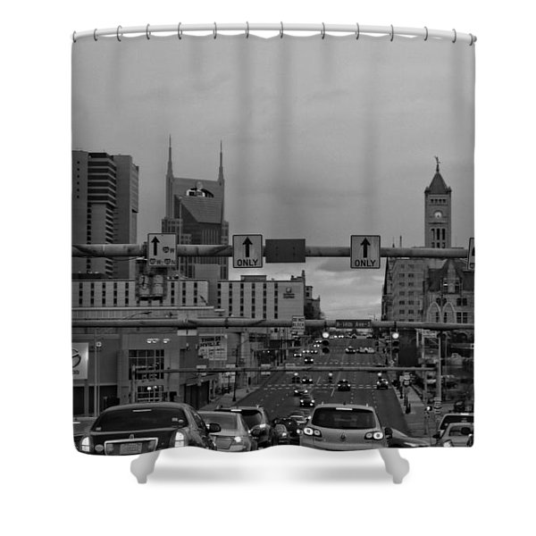 Nashville Skyline In Black And White Shower Curtain by Dan Sproul