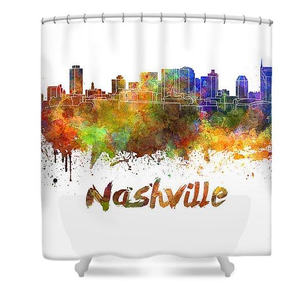 Nashville Skyline In Watercolor Shower Curtain by Pablo Romero