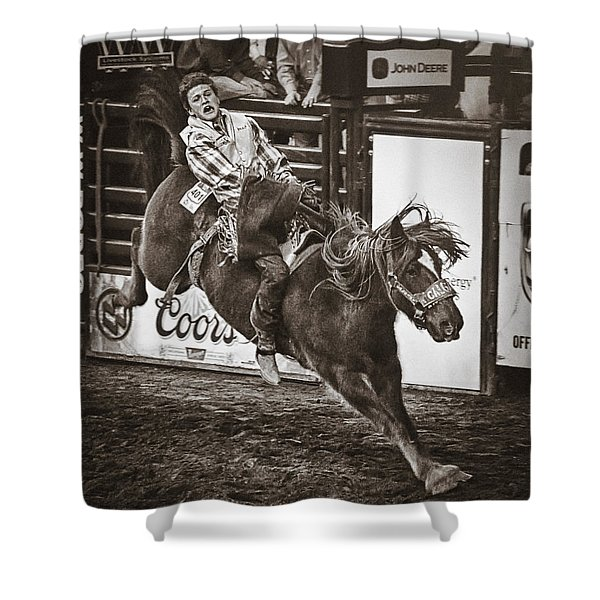 National Stock Show Bareback Riding Shower Curtain by Priscilla Burgers