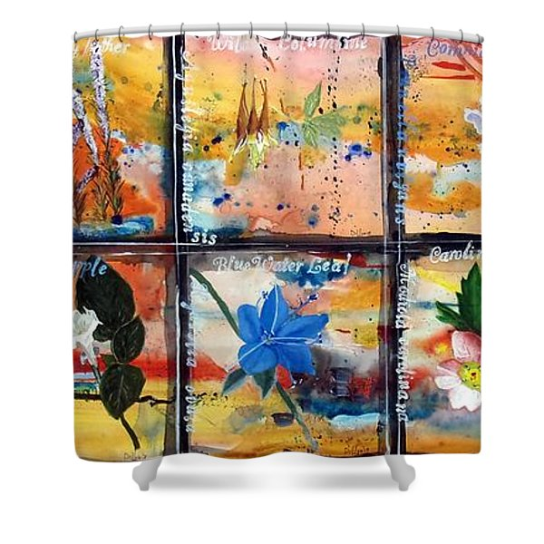 native Texas wildflowers B Shower Curtain by Michael Dillon