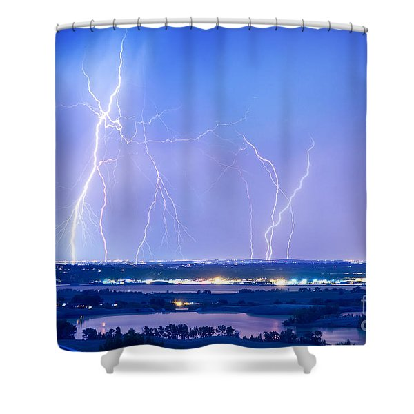 Natures Light Show Over The Boulder Reservoir  Shower Curtain by James BO  Insogna