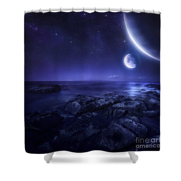 Nearby Planets Hover Over The Ocean Shower Curtain by Evgeny Kuklev