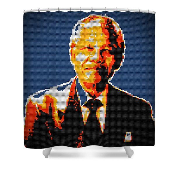 Nelson Mandela Lego Pop Art Shower Curtain by Georgeta Blanaru
