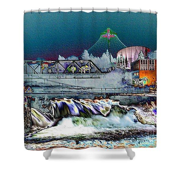 Neon Lights of Spokane Falls Shower Curtain by Carol Groenen
