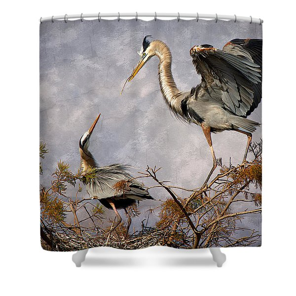 Nesting Time Shower Curtain by Debra and Dave Vanderlaan