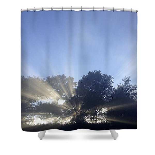 New day Shower Curtain by Les Cunliffe